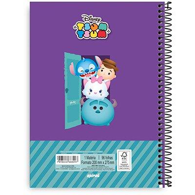Caderno Universitário Capa Dura 1x1 96 fls Disney Tsum Tsum 20265 Spiral Tsum PT 1 UN