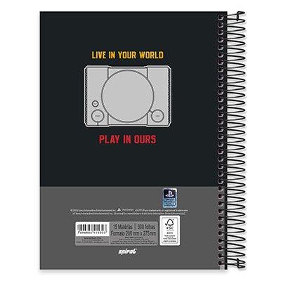 Caderno univ.capa dura 15x1 300fls Playstation 20601 Spiral Ps PT 1 UN