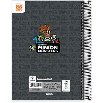 Caderno univ.capa dura 15x1 300fls Minions 20594 Spiral Mim PT 1 UN