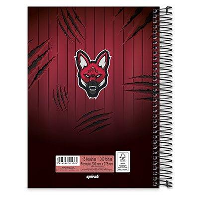 Caderno univ.capa dura 15x1 300fls Red Canids 20608 Spiral Red PT 1 UN