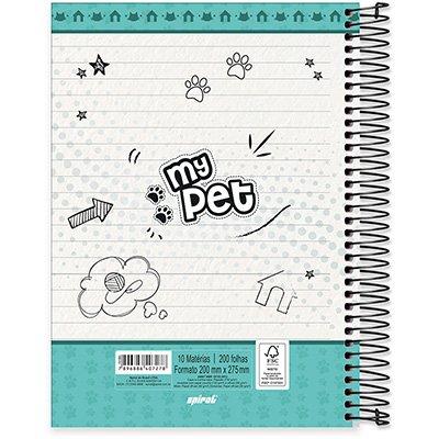 Caderno Universitário Capa Dura 10x1 200fl My Pet 20501 Spiral Pet PT 1 UN