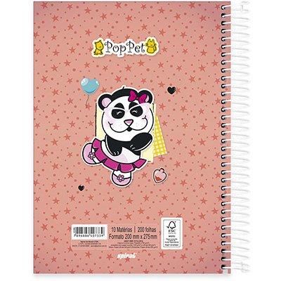Caderno Universitário Capa Dura 10x1 200fl Pop Pet 20507 Spiral Pop PT 1 UN