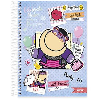 Caderno Universitário Capa Dura 10x1 200fl Pop Pet 20508 Spiral Pop PT 1 UN