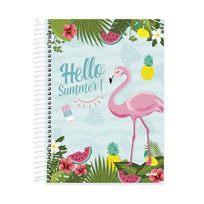 Caderno Universitário Capa Dura 10x1 200fl Flamingo 20517 Spiral Ten PT 1 UN