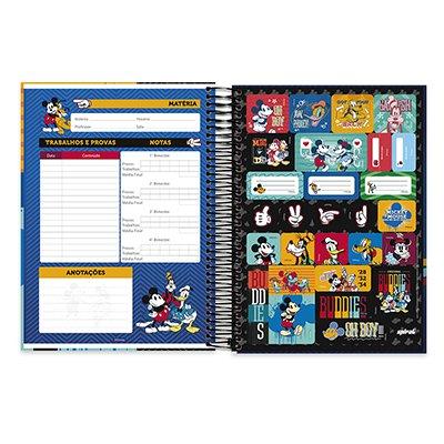 Caderno Universitário Capa Dura 10x1 200fl Mickey Friends 20547 Spiral Mfd PT 1 UN