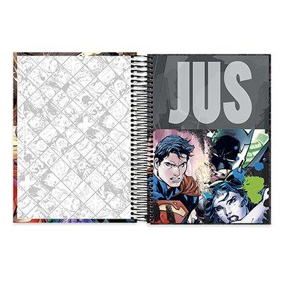 Caderno Universitário Capa Dura 10x1 200fl Liga da Justiça 20478 Spiral Lig PT 1 UN
