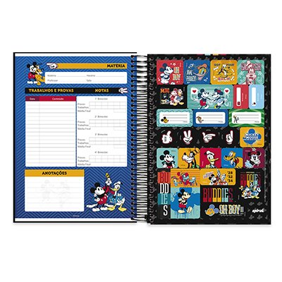 Caderno Universitário Capa Dura 10x1 200fl Mickey Frien. 20548 Spiral Mfd PT 1 UN