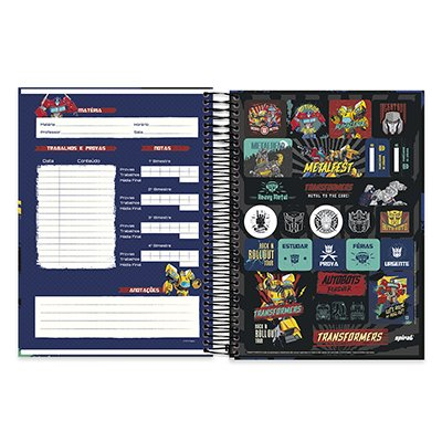Caderno Universitário Capa Dura 10x1 200fl Transformers 20524 Spiral Trf PT 1 UN