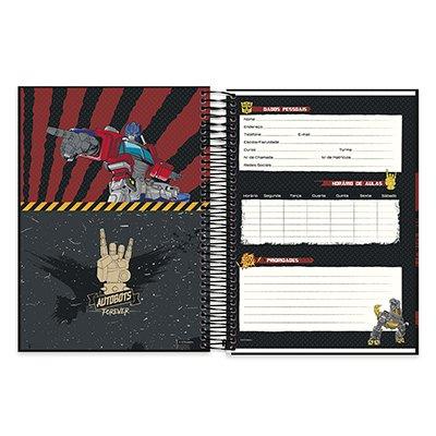 Caderno Universitário Capa Dura 10x1 200fl Transformers 20525 Spiral Trf PT 1 UN