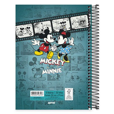 Caderno Universitário Capa Dura 10x1 200fl Mickey&Minnie 20436 Spiral Dm PT 1 UN