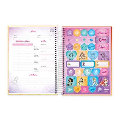 Caderno Universitário Capa Dura 10x1 200fl Princesas 20438 Spiral Pn PT 1 UN