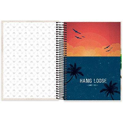 Caderno Universitário Capa Dura 10x1 200fl Hang loose 20457 Spiral Ha PT 1 UN