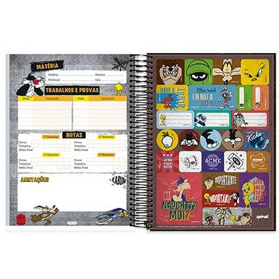 Caderno Universitário Capa Dura 10x1 200fl Looney Tunes 20479 Spiral Lt PT 1 UN