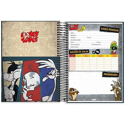Caderno Universitário Capa Dura 10x1 200fl Looney Tunes 20481 Spiral Lt PT 1 UN