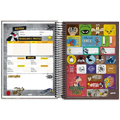 Caderno Universitário Capa Dura 10x1 200fl Looney Tunes 20482 Spiral Lt PT 1 UN