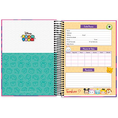 Caderno Universitário capa dura 20x1 400fl Disney Tsum Tsum 20647 Spiral Tsum PT 1 UN