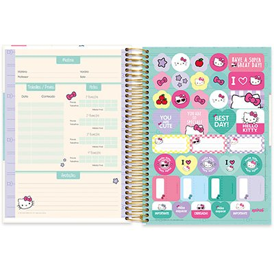 Caderno Universitário capa dura 20x1 400fl Hello Kitty 20658 Spiral Hki PT 1 UN