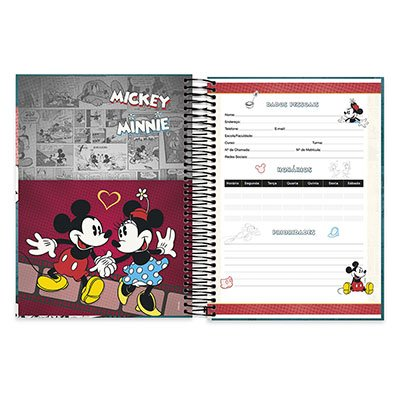 Caderno Universitário capa dura 20x1 400fl Mickey&minnie 20644 Spiral Dm PT 1 UN