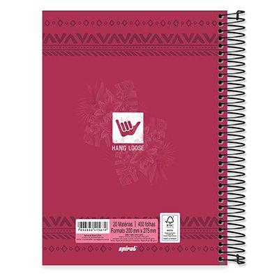 Caderno Universitário capa dura 20x1 400fl Hang Loose 20654 Spiral Ha PT 1 UN