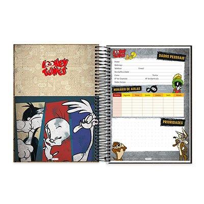 Caderno Universitário capa dura 20x1 400fl Looney Tunes 20670 Spiral Lt PT 1 UN