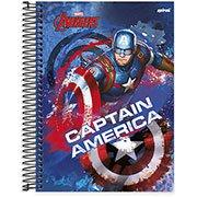 Caderno universitário capa dura 15x1 240 folhas Avengers Capitão América 211968 Spiral UN 1 PT