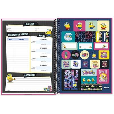 Caderno universitário capa dura 1x1 80 folhas Minions 211713 Spiral PT 1 UN