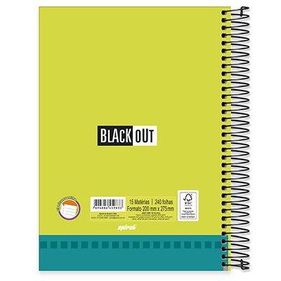 Caderno universitário capa dura 15x1 240 folhas Black Out Azul 212068 Spiral PT 1 UN