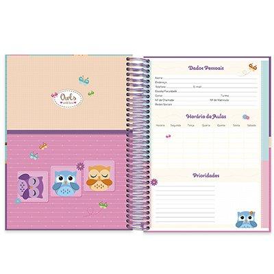 Caderno universitário capa dura 15x1 240 folhas Corujinhas 211976 Spiral PT 1 UN