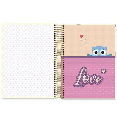 Caderno universitário capa dura 15x1 240 folhas Corujinhas 211977 Spiral PT 1 UN