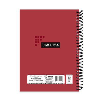 Caderno universitário capa dura 1x1 96 folhas Brief Case Vermelho Spiral PT 1 UN