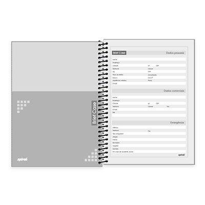 Caderno universitário capa dura 1x1 96 folhas Brief Case Cinza Spiral PT 1 UN