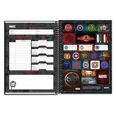 Caderno univ.capa dura 1x1 96 fls Marvel Brick 20244 Spiral Mvb PT 1 UN