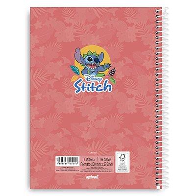Caderno Universitário Capa Dura 1x1 96 fls Stitch 20248 Spiral Ds PT 1 UN