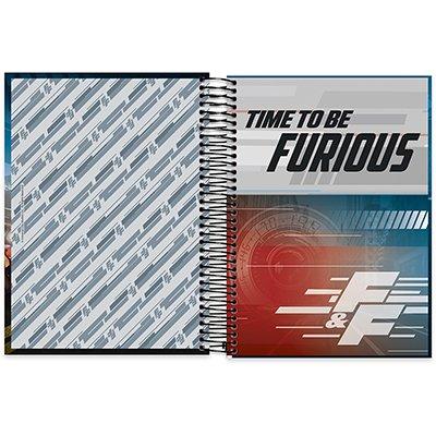 Caderno Universitário capa dura 10x1 200fl Velozes e Furiosos 20523 Spiral Vel PT 1 UN