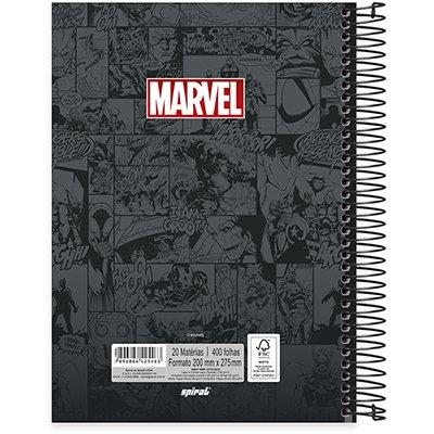 Caderno univ.capa dura 20x1 400fl Marvel Brick 20669 Spiral Mvb PT 1 UN