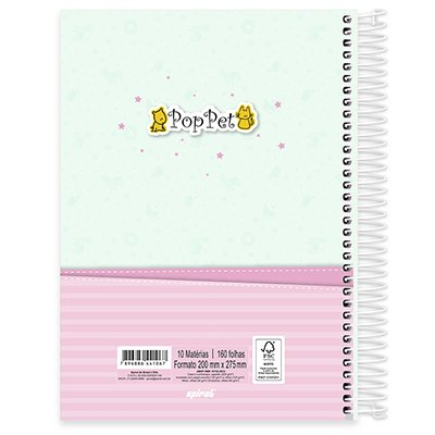 Caderno universitário capa dura 10x1 160 folhas Pop Pet 211900 Spiral PT 1 UN