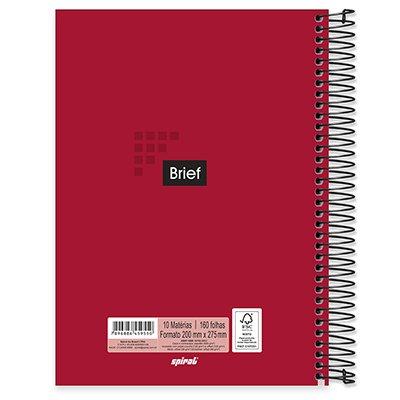 Caderno universitário capa dura 10x1 160 folhas Brief Case Vermelho 211958 Spiral PT 1 UN