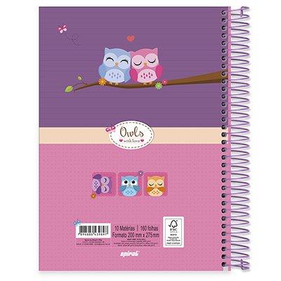 Caderno universitário capa dura 10x1 160 folhas Corujinhas 211816 Spiral PT 1 UN