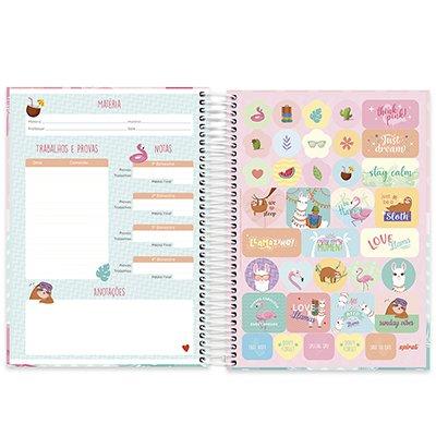 Caderno universitário capa dura 10x1 160 folhas Tendency Flamingo 211918 Spiral PT 1 UN