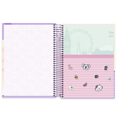 Caderno universitário capa dura 10x1 160 folhas Pop Pet 211903 Spiral PT 1 UN