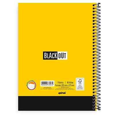 Caderno universitário capa dura 1x1 96 folhas Black Out Vermelho Spiral PT 1 UN