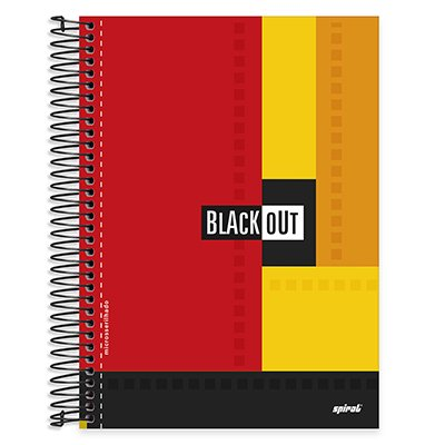Caderno universitário capa dura 20x1 400 folhas Black Out  Spiral PT 1 UN