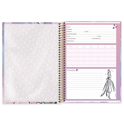 Caderno universitário capa dura 1x1 80 folhas Barbie 211537 Spiral PT 1 UN