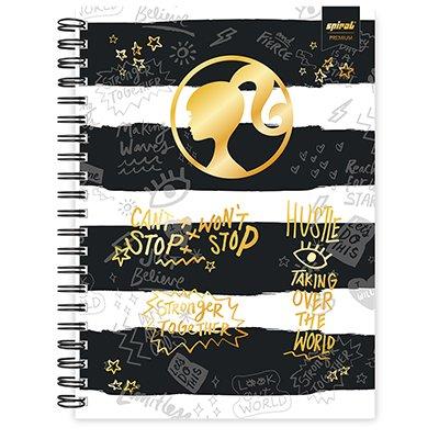 Caderno universitário capa dura 1x1 80 folhas Barbie Premium 211535 Spiral PT 1 UN