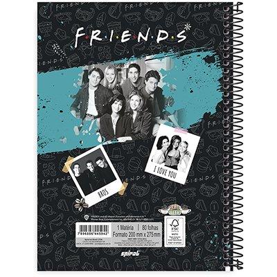 Caderno universitário capa dura 1x1 80 folhas Friends 211689 Spiral PT 1 UN