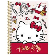 Caderno universitário capa dura 1x1 80 folhas Hello Kitty 211591 Spiral PT 1 UN