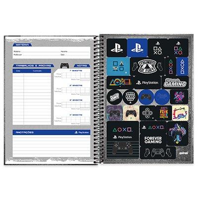 Caderno universitário capa dura 1x1 80 folhas Playstation 211636 Spiral PT 1 UN