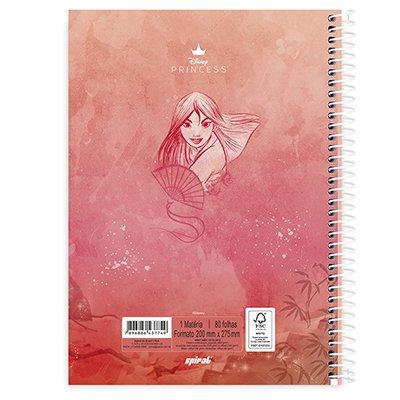 Caderno universitário capa dura 1x1 80 folhas Disney Princesas Mulan 211561 Spiral PT 1 UN