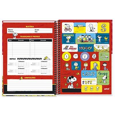 Caderno universitário capa dura 1x1 80 folhas Snoopy 211648 Spiral PT 1 UN