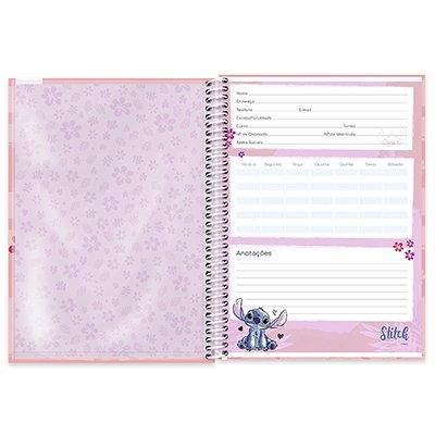 Caderno universitário capa dura 1x1 80 folhas Stitch 211651 Spiral PT 1 UN